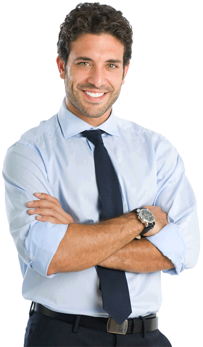 Why Should you use us - Person Business Guy Arms Folded Smiling